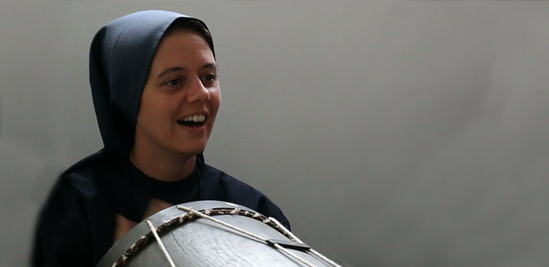 Sr. Clare Playing a Drum