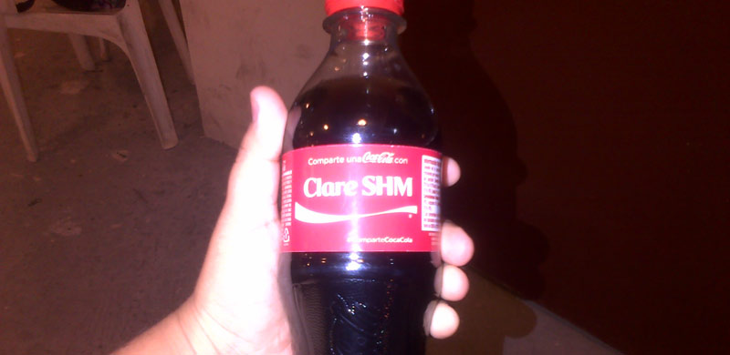 Coca Cola with Sr. Clare's name