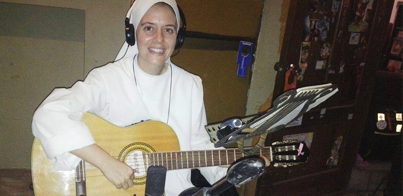 Sr. Clare in a Recording Studio