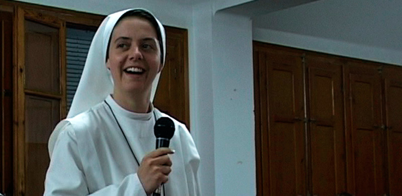 Sr. Clare with a Mic
