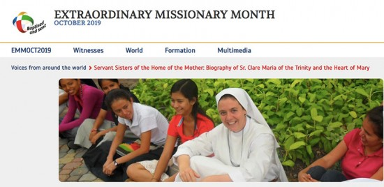 Sr. Clare on the Extraordinary Month of Mission October 2019's Website